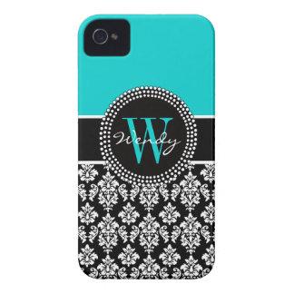 Personalized Initial Aqua Black Damask Pattern iPhone 4 Case-Mate Case