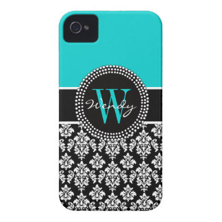 Personalized Initial Aqua Black Damask Pattern iPhone 4 Cover