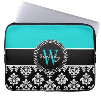 Personalized Initial Aqua Black Damask Pattern Laptop Sleeve