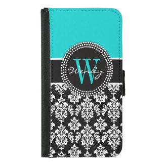 Personalized Initial Aqua Black Damask Pattern Wallet Phone Case For Samsung Galaxy S5