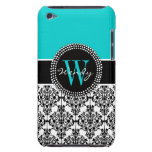 Personalized Initial Aqua Teal Black Damask Barely There iPod Case