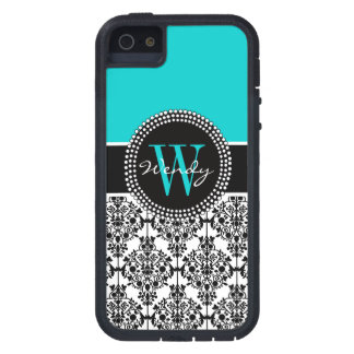 Personalized Initial Aqua Teal Black Damask Cover For iPhone 5