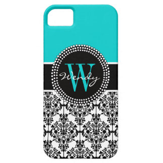 Personalized Initial Aqua Teal Black Damask iPhone 5 Cover