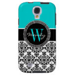 Personalized Initial Aqua Teal Black Damask Galaxy S4 Case