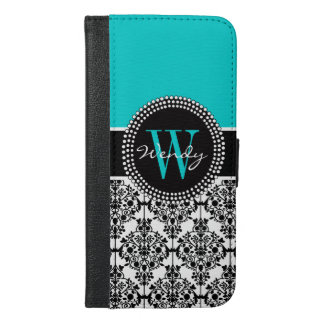 Personalized Initial Aqua Teal Black Damask iPhone 6/6s Plus Wallet Case