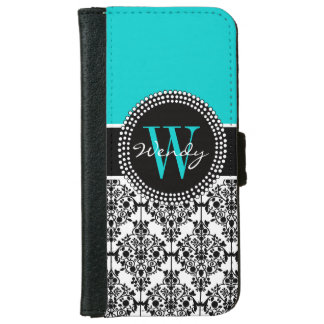 Personalized Initial Aqua Teal Black Damask Wallet Phone Case For iPhone 6/6s