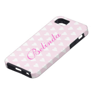 Personalized initial B girls name hearts pink cute iPhone 5 Cases