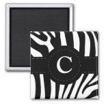 Personalized initial C zebra stripes magnet
