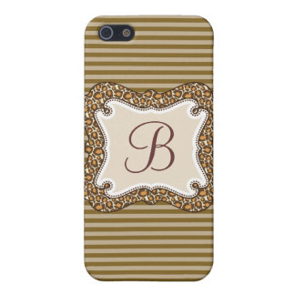 Personalized Initial Cocoa Stripes iPhone4 Case