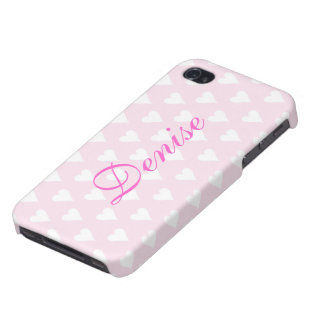 Personalized initial D girls name hearts pink iPhone 4/4S Case