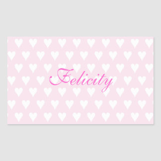Personalized initial F girls name cute pink hearts Rectangular Sticker