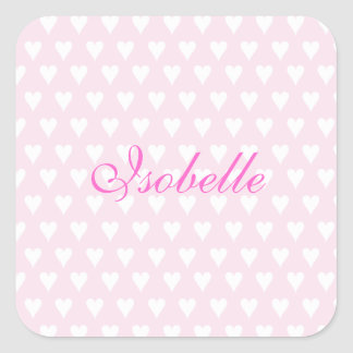 Personalized initial I girls name cute pink hearts Square Sticker