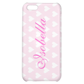 Personalized initial I girls name hearts pink iPhone 5C Case