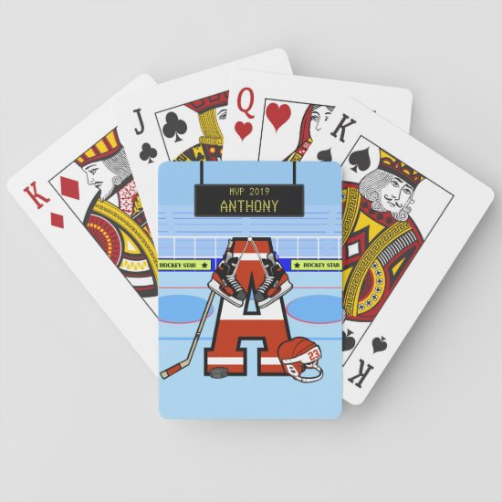 Personalized Initial Ice Hockey Playing Cards