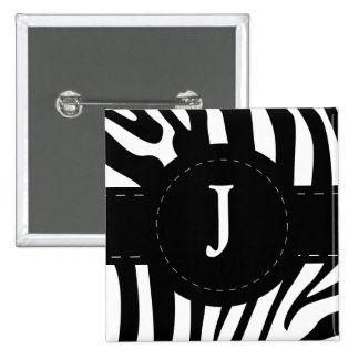 Personalized initial J zebra stripes button, pin