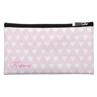 Personalized initial K girls name pink hearts Cosmetic Bags