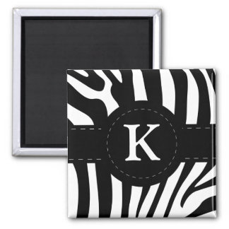 Personalized initial K zebra stripes magnet