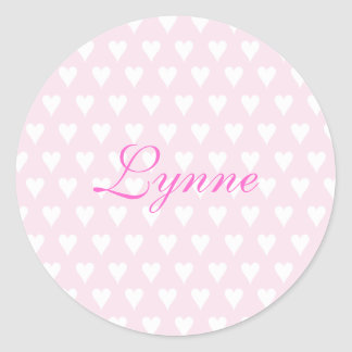 Personalized initial L girls name cute pink hearts Classic Round Sticker