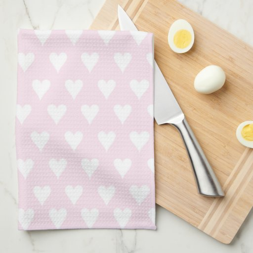 Personalized initial L girls name cute pink hearts Kitchen Towel