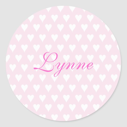 Personalized initial L girls name cute pink hearts Round Stickers