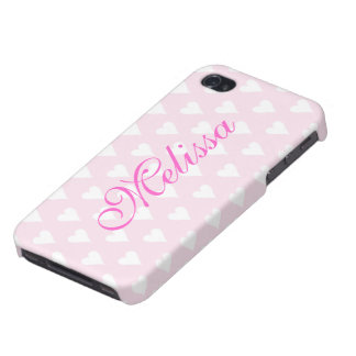 Personalized initial M girls name hearts pink Cover For iPhone 4