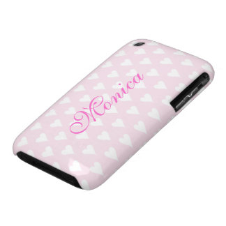 Personalized initial M girls name hearts pink cute Case-Mate iPhone 3 Case