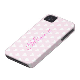Personalized initial M girls name hearts pink cute iPhone 4 Case-Mate Cases