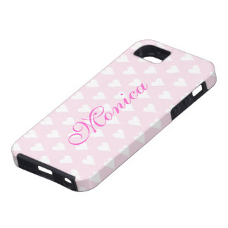 Personalized initial M girls name hearts pink cute iPhone 5 Case