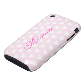 Personalized initial M girls name hearts pink cute Tough iPhone 3 Cover