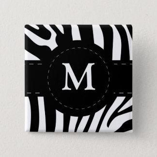Personalized initial M zebra stripes button, pin