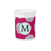 Personalized Initial Monogram Fuchsia Flowers Beverage Pitcher