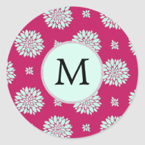 Personalized Initial Monogram Fuchsia Flowers Classic Round Sticker