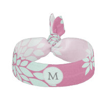 Personalized Initial Monogram Fuchsia Flowers Hair Tie