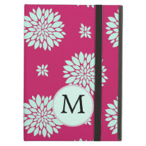 Personalized Initial Monogram Fuchsia Flowers iPad Air Cover