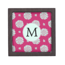 Personalized Initial Monogram Fuchsia Flowers Jewelry Box