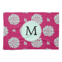 Personalized Initial Monogram Fuchsia Flowers Kitchen Towels