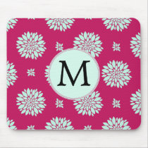 Personalized Initial Monogram Fuchsia Flowers Mouse Pad
