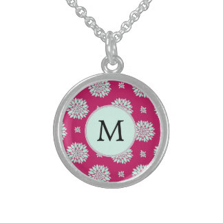 Personalized Initial Monogram Fuchsia Flowers Sterling Silver Necklace