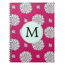 Personalized Initial Monogram Fuchsia Flowers Spiral Notebook