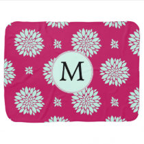 Personalized Initial Monogram Fuchsia Flowers Swaddle Blanket