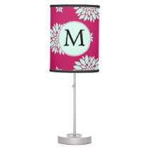 Personalized Initial Monogram Fuchsia Flowers Table Lamp