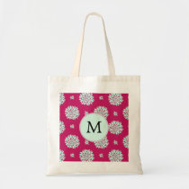 Personalized Initial Monogram Fuchsia Flowers Tote Bag