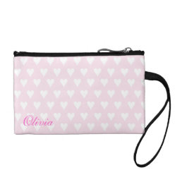 Personalized initial O girls name pink hearts Change Purse