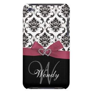 Personalized Initial, Pink, Black Damask Pattern Barely There iPod Cover
