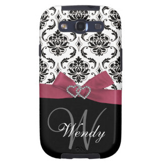 Personalized Initial, Pink, Black Damask Pattern Galaxy SIII Cover