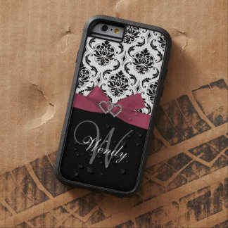 Personalized Initial, Pink, Black Damask Pattern Tough Xtreme iPhone 6 Case