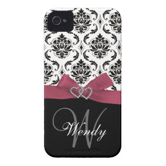 Personalized Initial, Pink, Black Damask Pattern Case-Mate iPhone 4 Case