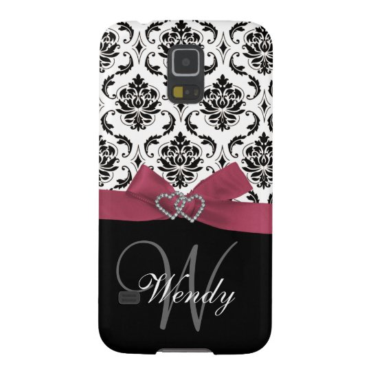 Personalized Initial, Pink, Black Damask Pattern Galaxy S5 Case