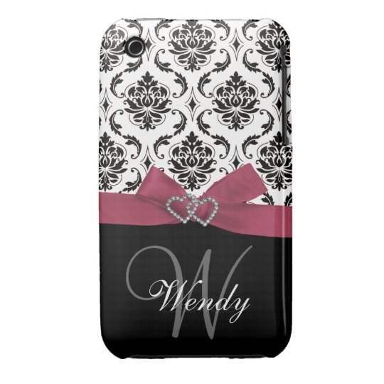 Personalized Initial, Pink, Black Damask Pattern iPhone 3 Cover