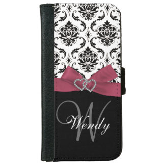 Personalized Initial, Pink, Black Damask Pattern iPhone 6 Wallet Case